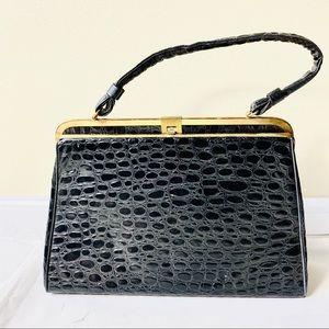 VTG 50s • Black & Gold Clutch Handbag
